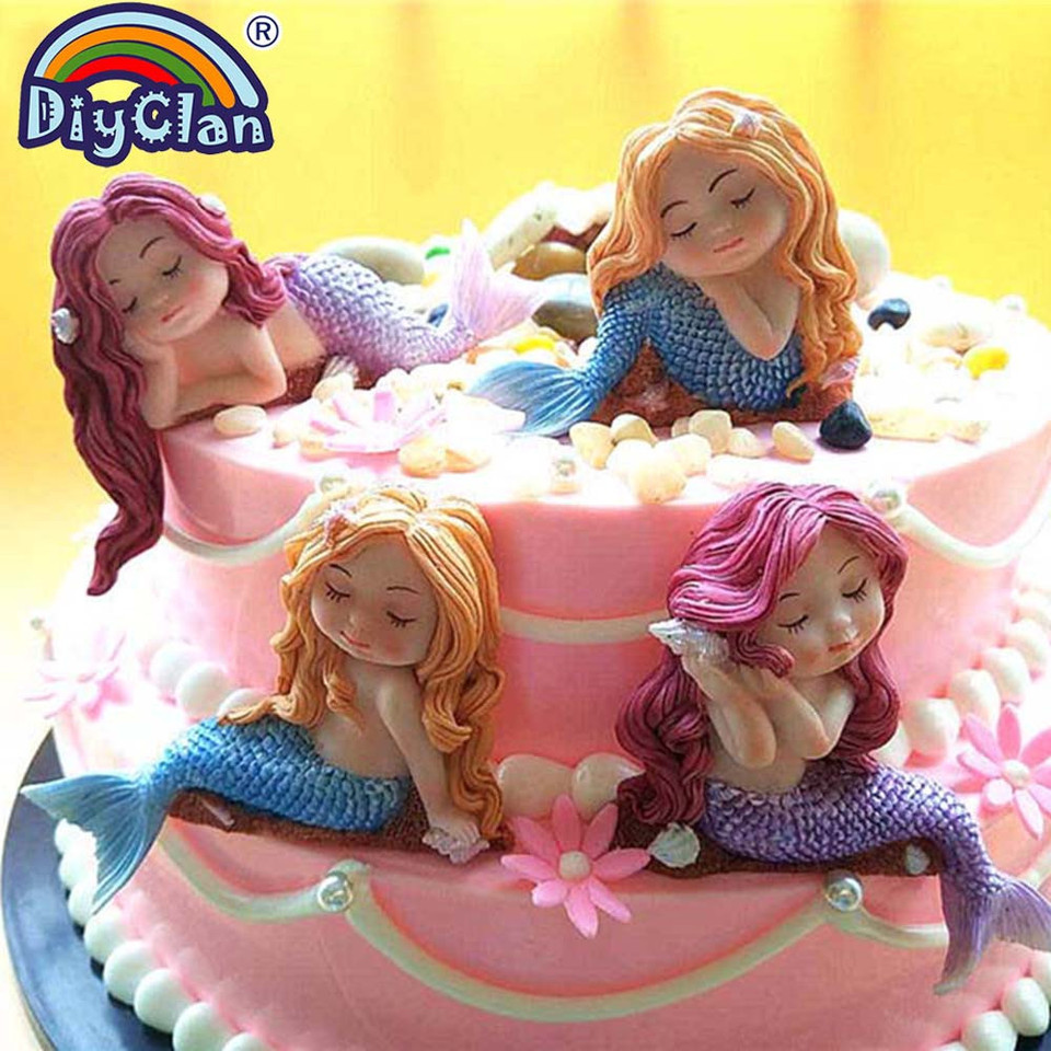 3D NEW DIY Mermaid Fairy Silicone Fondant Mould Cake Decor Chocolate Baking Mold