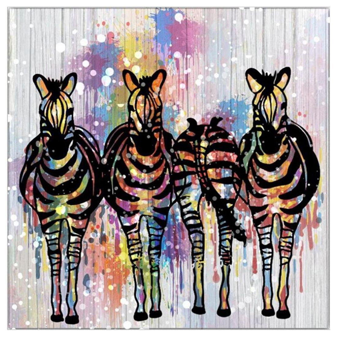 PPYY NEW -Four Only Zebra - Painting Animals Canvas Colorful Horse Decoration Abstract Art Home Decorations Wall Ready To Hang