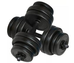 VidaXL Set Of 2 Anti-Slip Handles Dumbbells Olympic Standard Black Barbell Dumbbell Weighs 30 Kgin For Bodybuilding