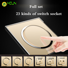 Champagne gold switch socket Type 86 Household Switch panel Full set 23 kinds of Acrylic glass