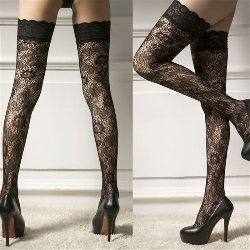 Women Sheer Lace Top Stay Up Thigh-High Stockings Woman Pantyhose Stocking Ladies Lace Fashion Sexy Stocking