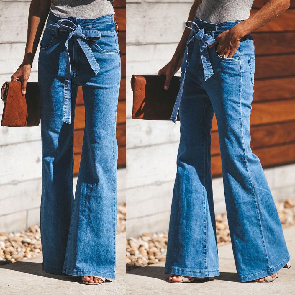 Fashion New Style Femma   Pants   Women's Jeggings Trouser   Wide     Leg   Long Flare Bell Bottom   Pants   Belt Sashes Flare Sleeve Trousers