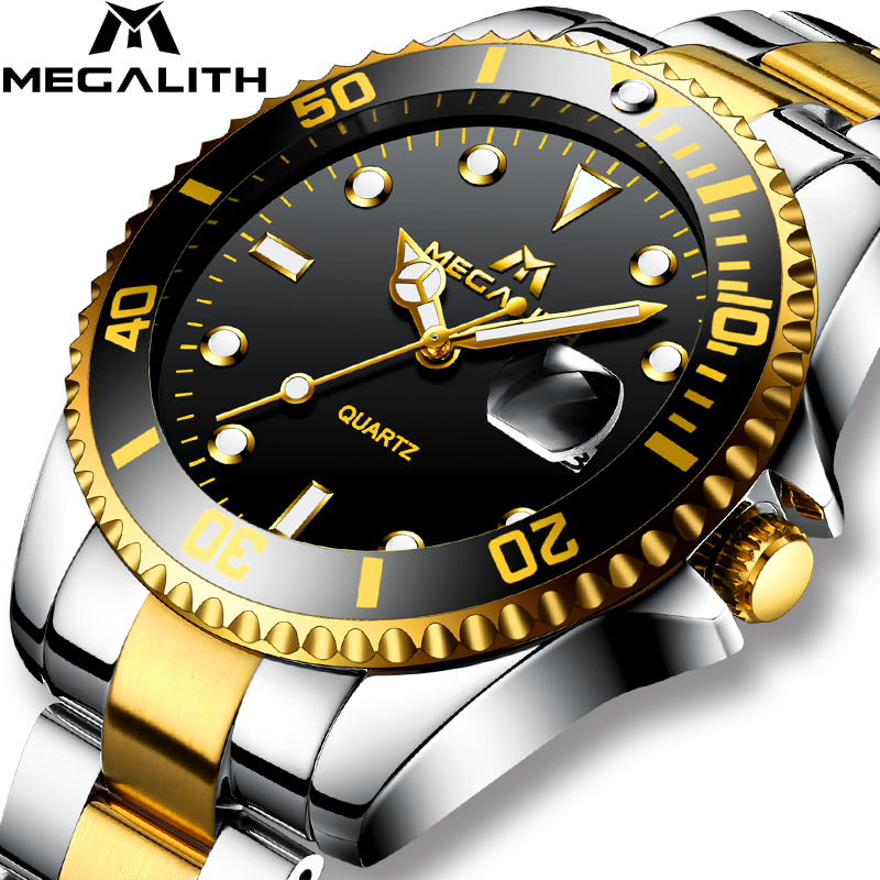 MEGALITH Quartz Watch Mens Waterproof Calendar Fashion Fashion  Casual Top Brand Luxury For Men Stainless Steel Simple WatchesMEGALITH Quartz Watch Mens Waterproof Calendar Fashion Fashion  Casual Top Brand Luxury For Men Stainless Steel Simple Watches