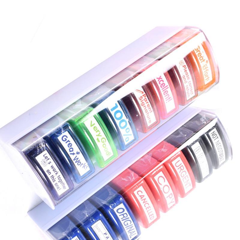 8pcs Colorful Teacher Seal Set School Grading Teacher Stamp For HN-PP103 Toy For Kids Christmas Gift Children Toys