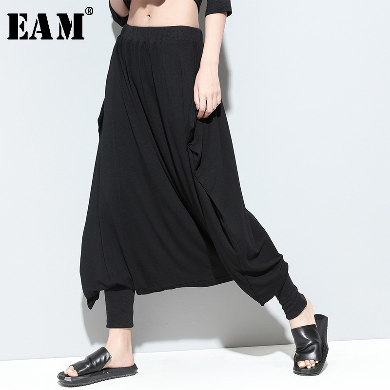 [EAM] 2019 New Autumn Winter  High Elastic Waist Black Big Size Brief Loose Cross-pants Women Trousers Fashion Tide JL346