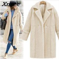 Women jacket coat autumn winter cashmere long coat loose warm outwear turn down lamb wool trench coats plus size Xnxee