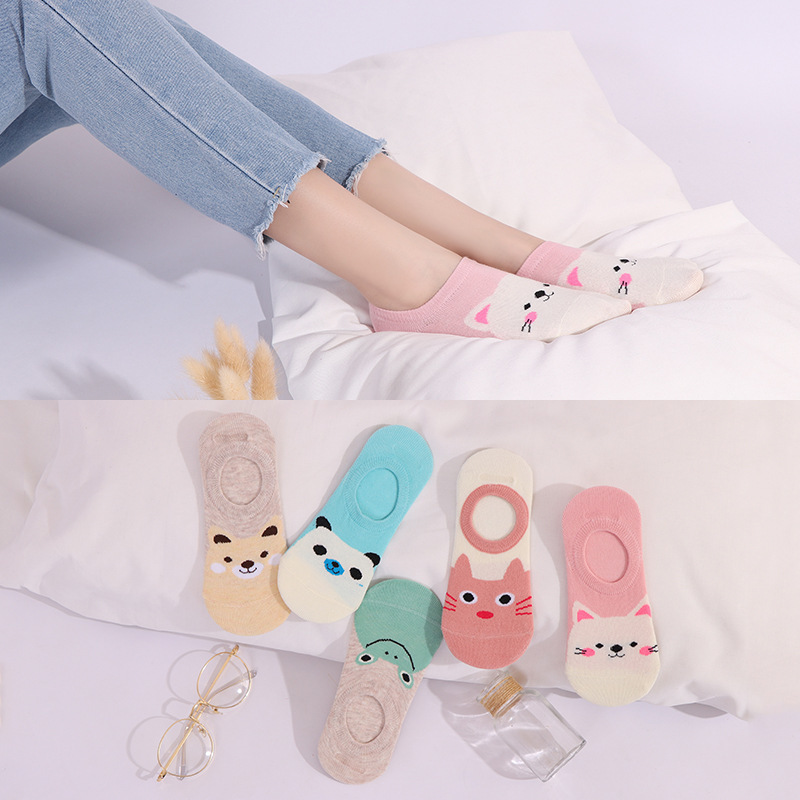 Colorful Animal Invisible Short Woman Sweat Summer Comfortable Cotton Girl Women's Boat Socks Ankle Low Female 1pair=2pcs XG31