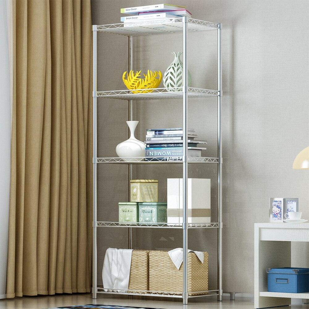 5 Layers Storage Rack Multifunctional Kitchen Seasoner Storage Holder Shelf 5 Tier Wire Shelving Metal Storage