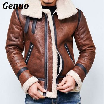 Genuo Winter Men Leather Jacket Men Coat Plus Size High Quality PU Leather Outerwear Business Faux Fur Collar Male Jacket Fleece