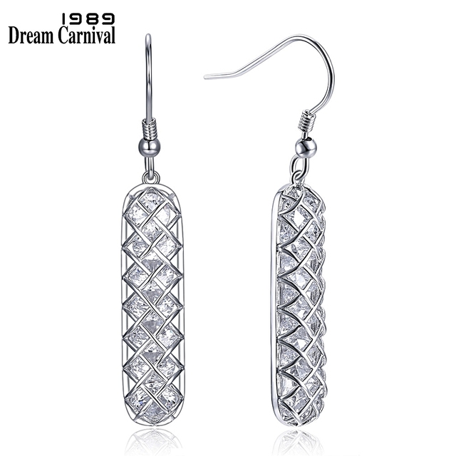 DreamCarnival 1989 Hot Sell Silver 925 Fish Hook Drop Earrings for Woman Cubic Zircon inside Cage Elegant Party Jewlery SE18844