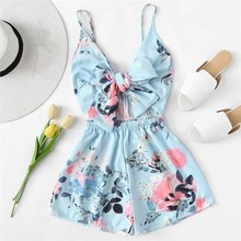 2019 Women Tie Front Floral Print Romper Summer Sleeveless Wide Leg High Waist Playsuit Casual Jumpsuit Short green backless tiered flared details floral print self tie design wide leg jumpsuit