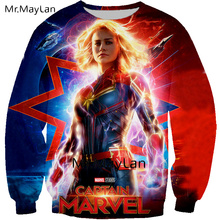 2019 New Cool 3D Print Movie Captain Marvel Sweatshirts Men/women HipHop O neck Pullover Hoodies Boys Streetwear Spring Clothes