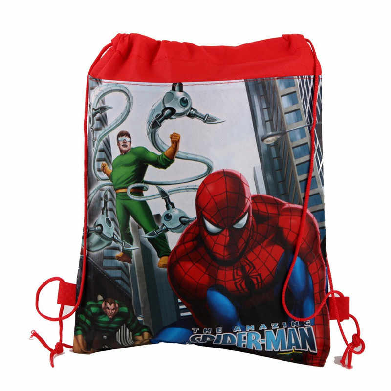 1Pcs Spider-Man Thema Jongen Verjaardag Wedding Party Niet-geweven Gift Bag School Stof Rugzak Trekkoord Tassen decoraties Supply