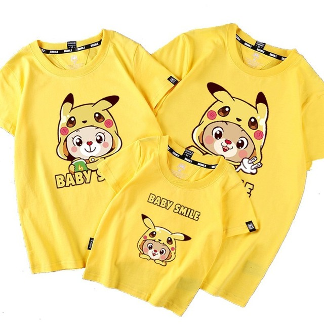 7563358b 3 Pieces/Pack Family Look Matching Outfits Pokemon Pikachu Printed T Shirt  Mother Daughter Short Sleeve Dad Mom Baby Family Suit