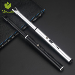 Mrosaa USB akumulator zapalniczki długie kuchenne zapalniczki elektroniczne wiatroodporny plazma elektryczny nowość lżejszy podwójnym łukiem w Akcesoria do papierosów od Dom i ogród na