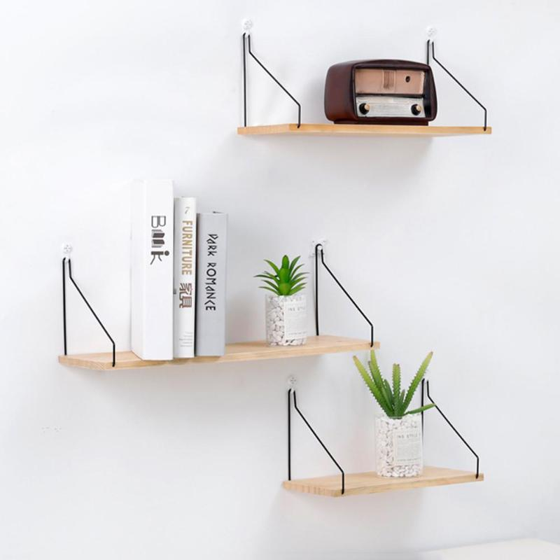Wooden Iron Wall Shelf Organizer Storage Rack Wall Mounted Kitchen Rack Space Saving Decorative Shelves Book Cabinet Holders