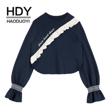 HDY Haoduoyi Ruffled Semaline Embroidered  T-Shirt Ruffles O-Neck Flare Long Sleeve Autumn New Arrival flower embroidered long sleeve ruffled top