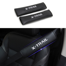 2PCS PU Reflective Car Seat belt shoulder Pads Safe Belt Cover For Nissan X-TRAIL Styling Auto Parts