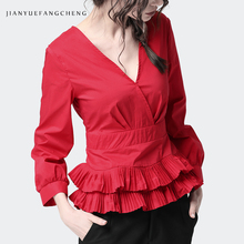 Women Red Ruffle Peplum Blouse Cotton Top Long Sleeve Deep V-Neck Back Single-breasted Elegant Sexy Spring Summer Top And Blouse цена в Москве и Питере