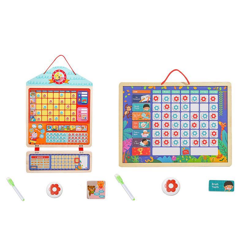 Vindingrijk Educatief Magnetische Verantwoordelijkheid Grafiek Playboard Voor Kinderen Baby Houten Gedrag Record Raad Speelgoed Met Magneten