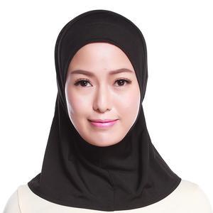 Image 4 - イスラム教徒の女性フルカバーキャップヒジャーブミニスカーフ帽子ターバン帽子ヘッドカバーイスラムスカーフの下無地スカーフアミラ忍者