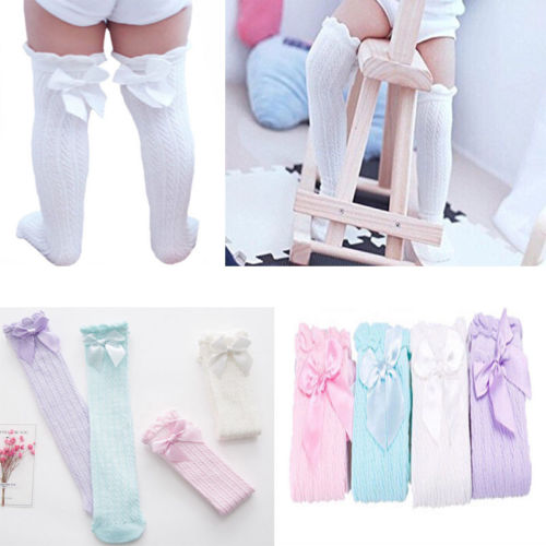 Toddler Baby Girl Kid Knee High Long Socks Bow Cotton Tights Stockings 0-4 Years