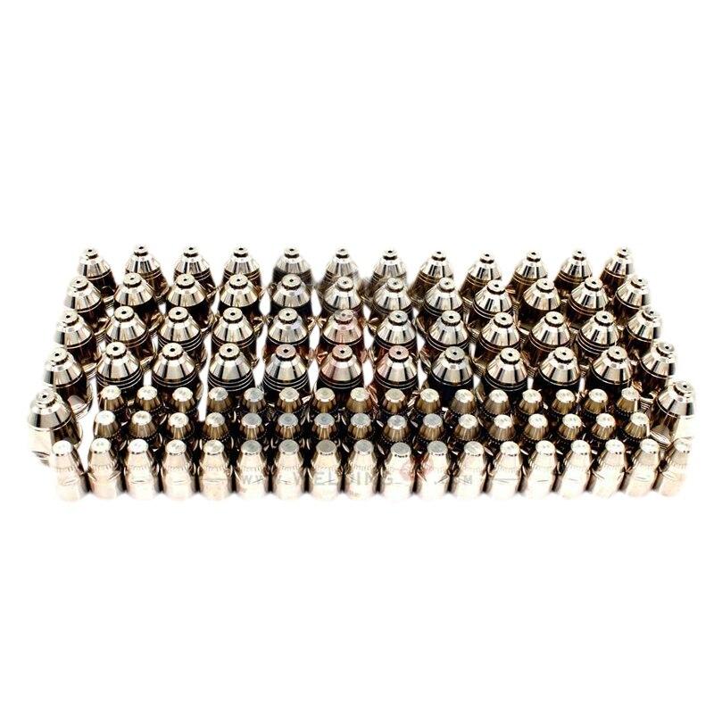 100 sztuk P80 inwerter palnik plazmowy do cięcia na plazmę palnik do cięcia akcesoria końcówka dyszy elektrody CNC