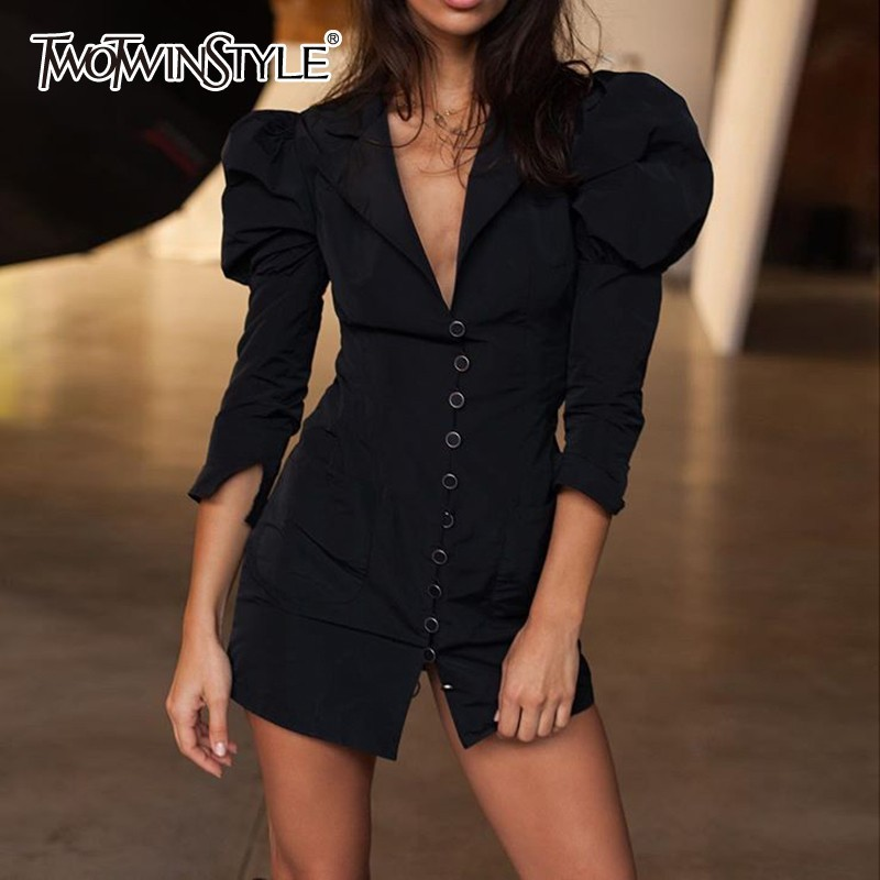 TWOTWINSTYLE Black Sexy Women Dress V Neck Puff Sleeve Bodycon High Waist Mini Female Dresses Clothes