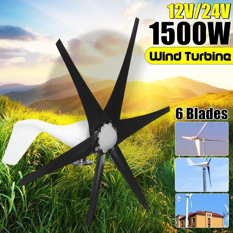 1500W 12V 24 Volt S2 6 Nylon Fiber Blade Horizontal Home Wind Turbines Generator Power Windmill Energy Turbines Charge1500W 12V 24 Volt S2 6 Nylon Fiber Blade Horizontal Home Wind Turbines Generator Power Windmill Energy Turbines Charge