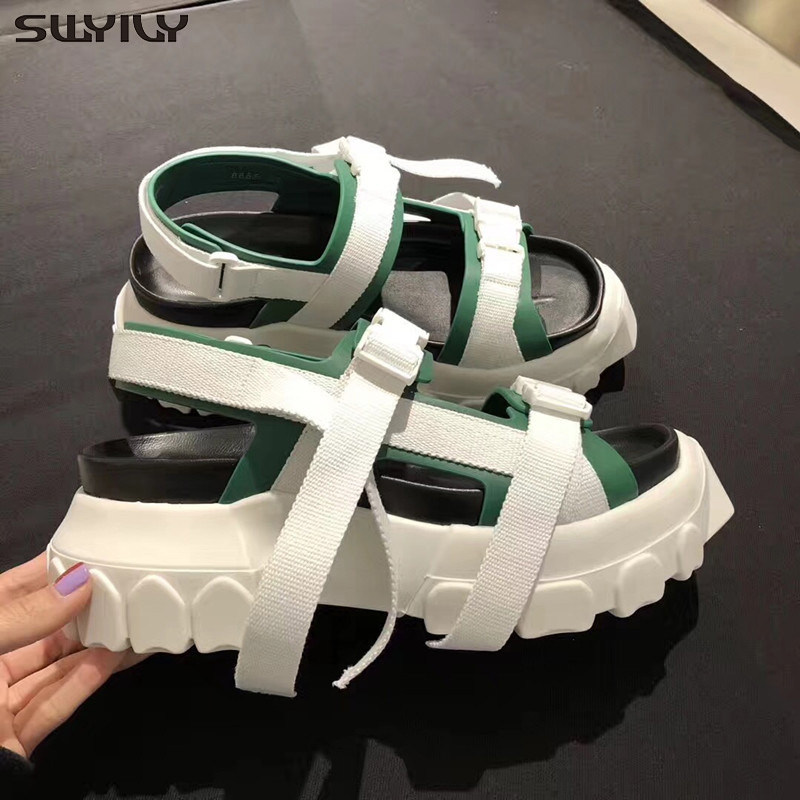 SWYIVY Women Summer Shoes Sandals Platform Genuine Leather 2019 Belt Buckle Black Casual Shoes Female Wedge Sandals For WomanSWYIVY Women Summer Shoes Sandals Platform Genuine Leather 2019 Belt Buckle Black Casual Shoes Female Wedge Sandals For Woman