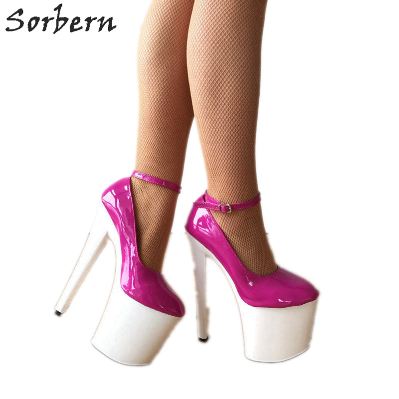 fa5df2d67e3a6 Detail Feedback Questions about Sorbern 17Cm Fetish High Heels Pump Ankle  Straps Platform Heel Fetish Two Tone Shoes Ladies Pink White Patent Unisex  Pump ...