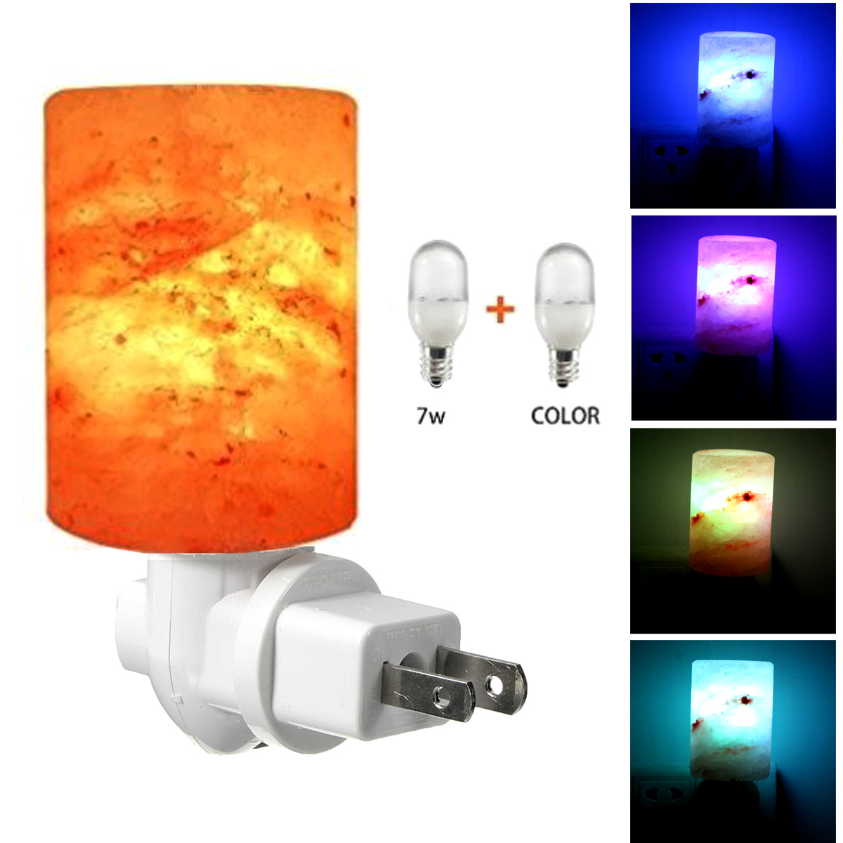 Mini Himalayan Salt Crystal Cylinder Shape Wall Night Light Color Changeable Lamp Fixtures Bedside Bedroom Home Decoration Gift