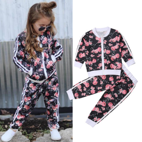 Fashion Sportswear Floral Toddler Baby Kids Boy Girl Outfits Clothes Tops +Pants