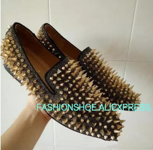 Custom Made Euro Size 46 Men Flats Spikes Diamonds Glitter Slipper Shoes Black Genuine Leather Wedding Shoes Man Casual LoafersCustom Made Euro Size 46 Men Flats Spikes Diamonds Glitter Slipper Shoes Black Genuine Leather Wedding Shoes Man Casual Loafers