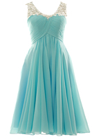 MACloth Gorgeous Sleeveless V Neck Illusion Lace Short Prom Homecoming Dress Wedding Party Formal Gown 160322