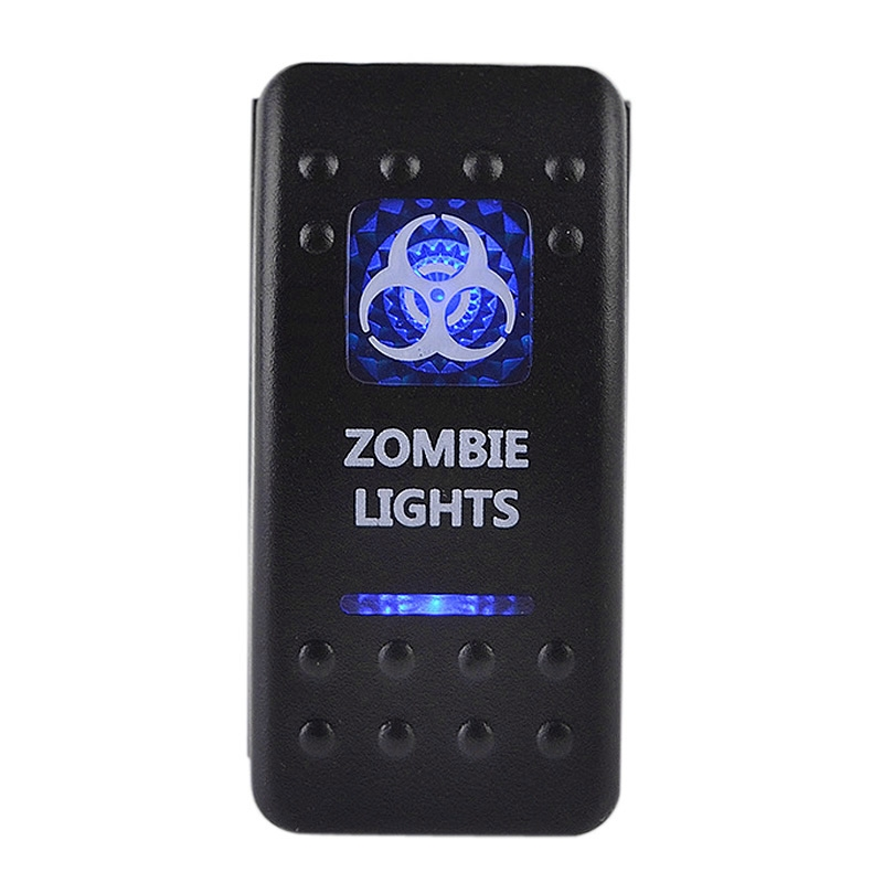 5-Pin Zombie Lights SPST Blue LED Indicator Rocker Switch W// Relay Harness Wire