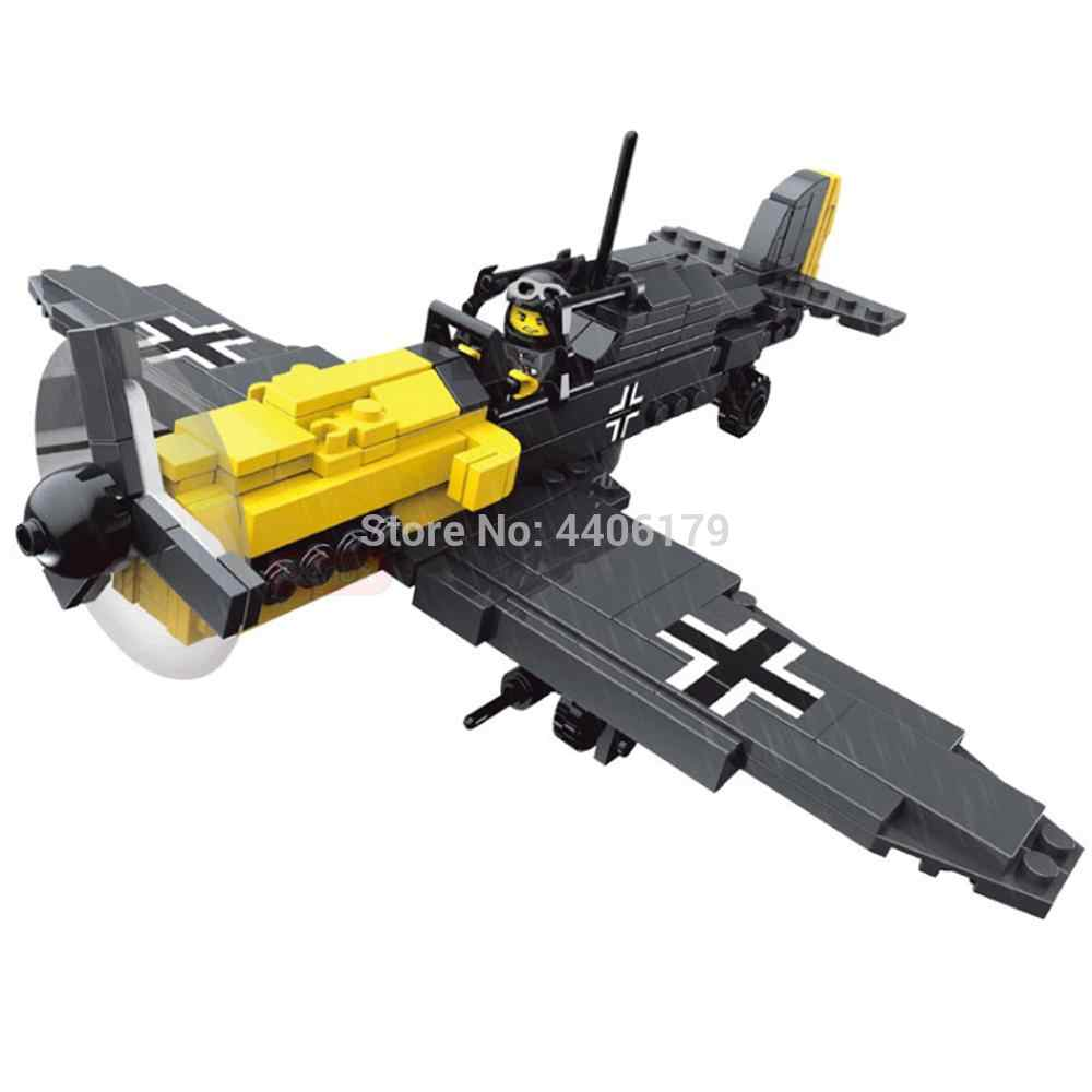 hot LegoINGly military World War II German army fighters aircraft Lightning war MOC Building Blocks model figure brick toys gift