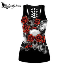 [You're My Secret] Scary Skull Pattern Women Sleeveless Tank Tops Gothic Red Rose Hollow Streetwear Top Slim Vest 4XL Girls Top джемпер top secret top secret mp002xm248y7