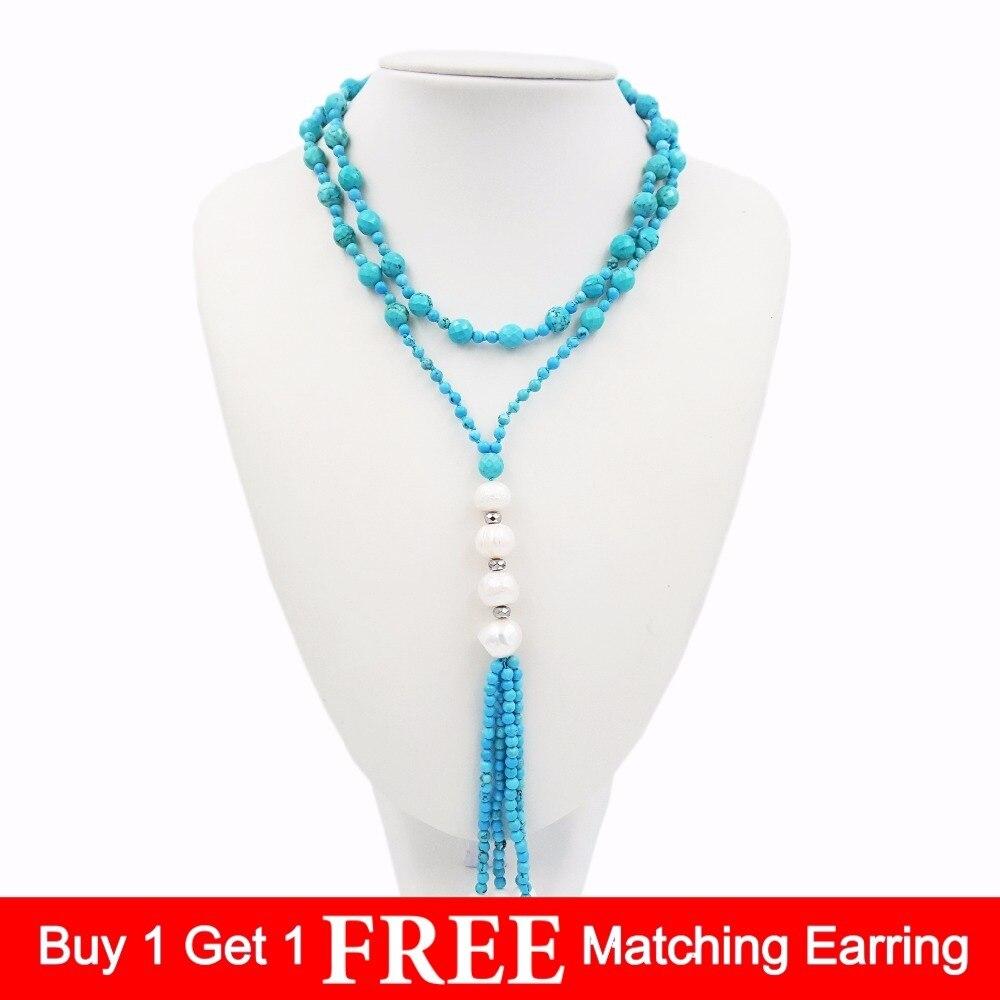 лучшая цена LiiJi Unique Natural Stone Blue Turquoises&Freshwater Baroque Pearl Long Tassels Sweather Necklace 33''/84cm
