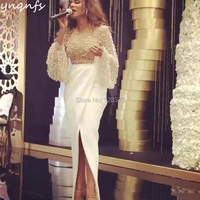 YNQNFS M164 Elegant Mother of Bride Dresses Dubai Pearls Long Sleeve Pleats High Slit Bottom Robe de Soiree Formal Dress 2019