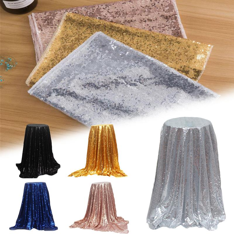 125x125cm Sequin Tablecloth Square Silver Sequined ...