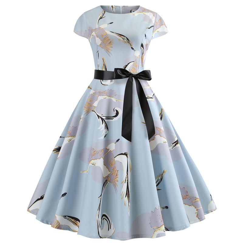 Women O-Neck Hepburn Vintage Dress Floral Printed Big Swing Dress Summer Casual Ladies Dresses With Sashes Plus Size