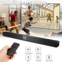 Wooden Bluetooth Soundbar TV Speaker 60W Hifi 5.1Channel Wireless Audio Video Player Home Theater Sound Bar Black For PC TV