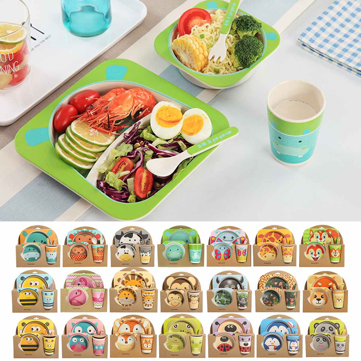 5Pcs/Set Baby Feeding Bowl Plate Dishes Fork Spoon Cup Children Tableware Bamboo Fiber Kids Cartoon Separation Feeding Plate