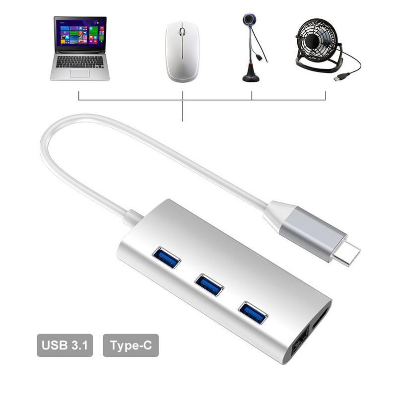 8in1 USB tipo C 3,1 HUB para tipo C a USB 3/3,0/4 K HDMI/RJ45 Ethernet /Micro SD TF lector de tarjeta/USB tipo C OTG HUB - 2