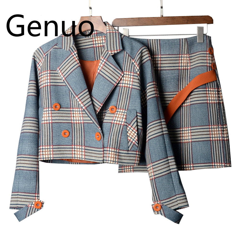 Spring Autumn Two Piece Plaid Skirt Suit Set Women Korean Style Female Set Mini Skirt And Short Jackets Double Breast