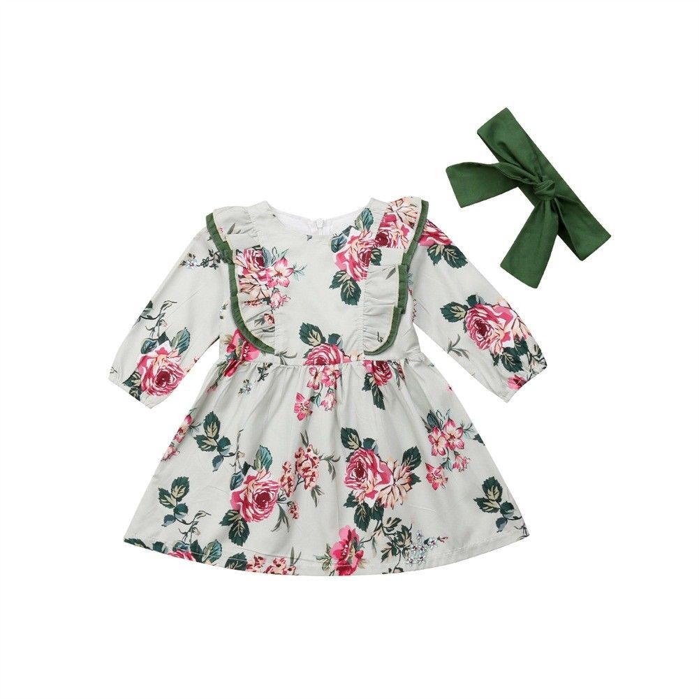 1Y-5Y Flower Toddler Kid Baby Girls Dress Long Sleeve Baby Girl Dress Cute Party Wedding Holiday Dress For Girls FD4 обогреватель в салон airline aah 12 01
