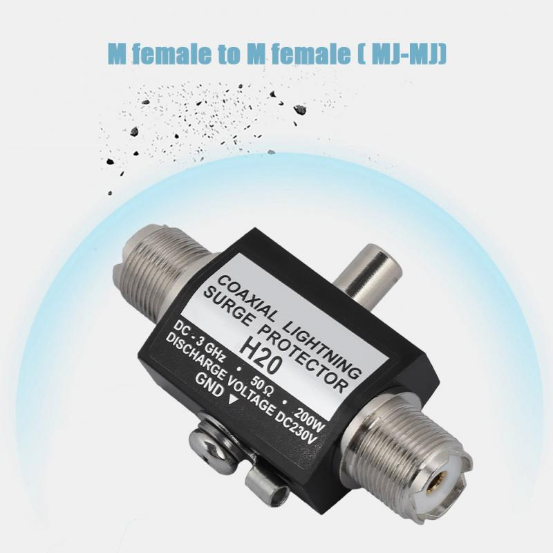 200W Lightning Arrestor H-20 DC-3GHz M female to M female All Band Lightning Protection Coaxial Lightning Surge Protector areyourshop 5pcs lightning arrestor n male plug to n female coaxial 0 2 5ghz 400w ca 23rp