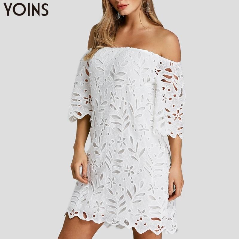 YOINS цветочный кружево крючком с открытыми плечами мини платье пикантные летние для женщин Дамская мода Полые Половина рукава вечеринка