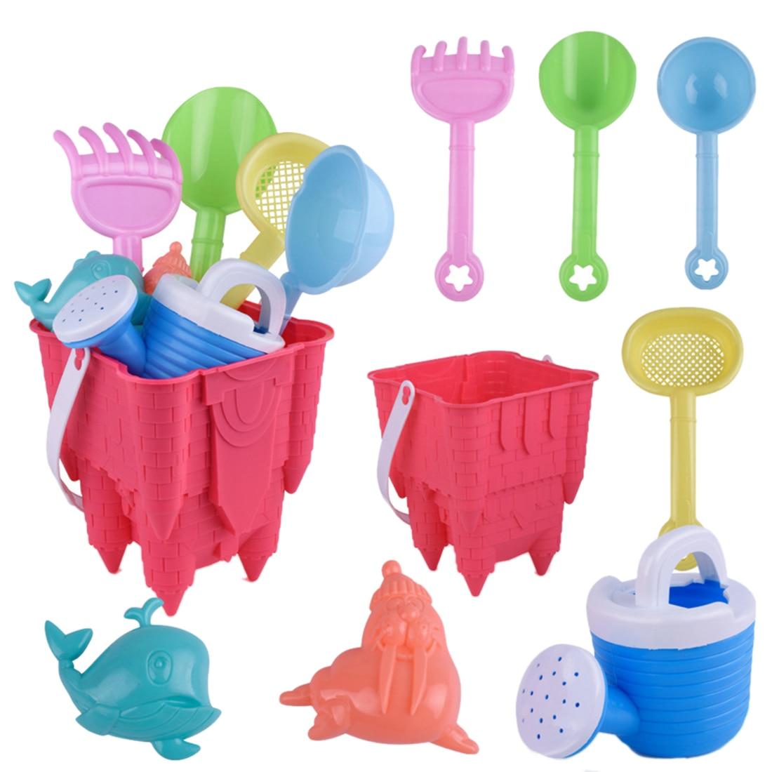 8Pcs Children Outdoor Beach Sand Toy Baby Beach Game Bucket Playset For Kids Water Fun Beach Toy Set- Color Random